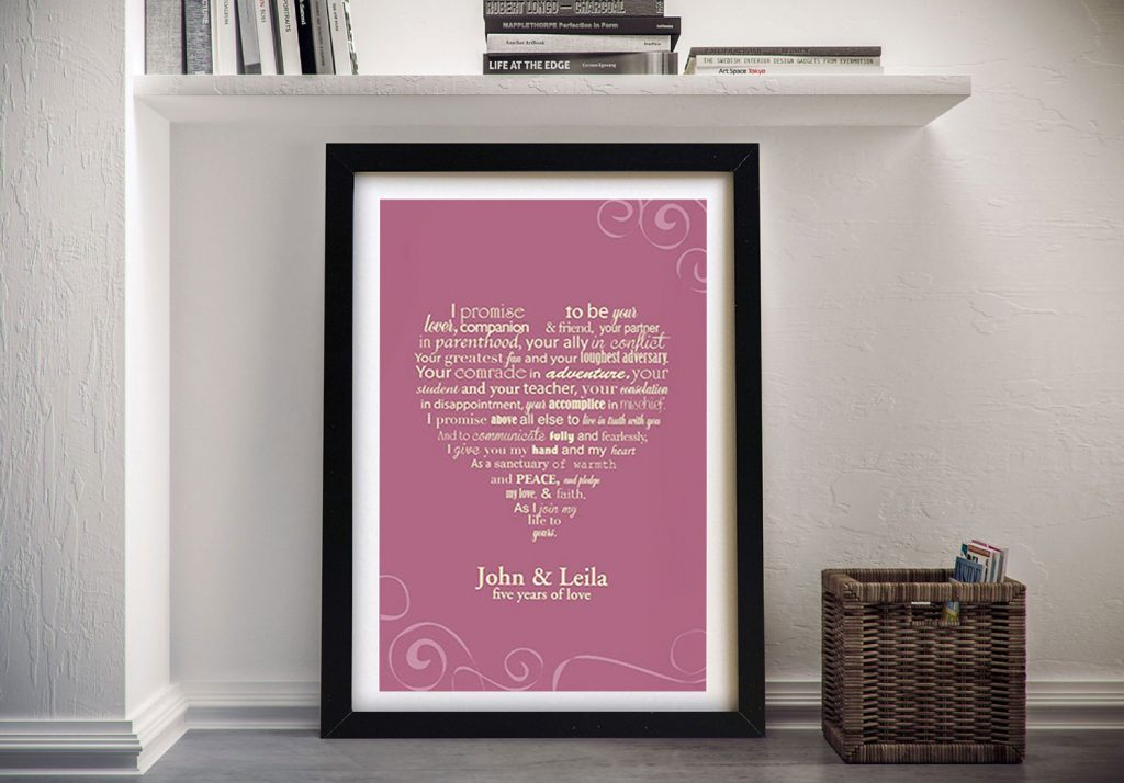 framed personalised wedding vows art