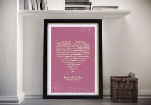 framed personalised wedding vows art