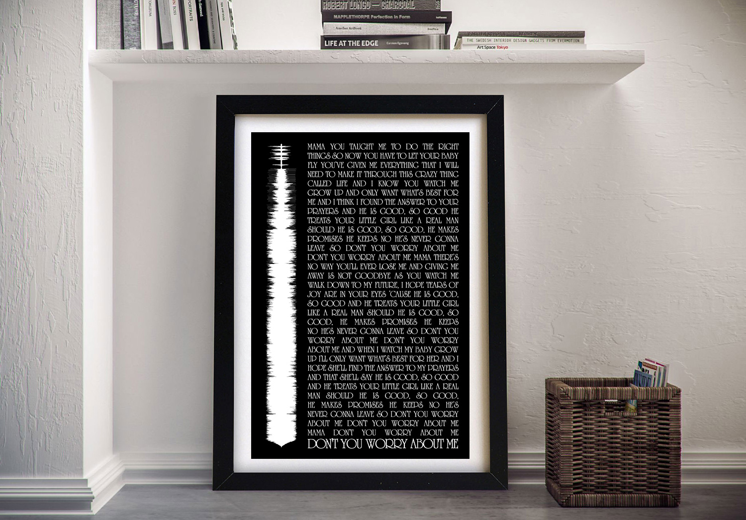 Personalised Soundwave Song Lyrics Framed Wall Art | Lyrics & Soundwave