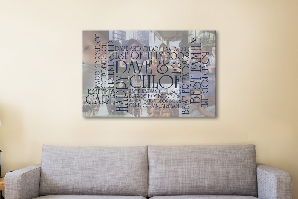 Personalised word art canvas collage