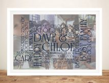 Personalised word art framed