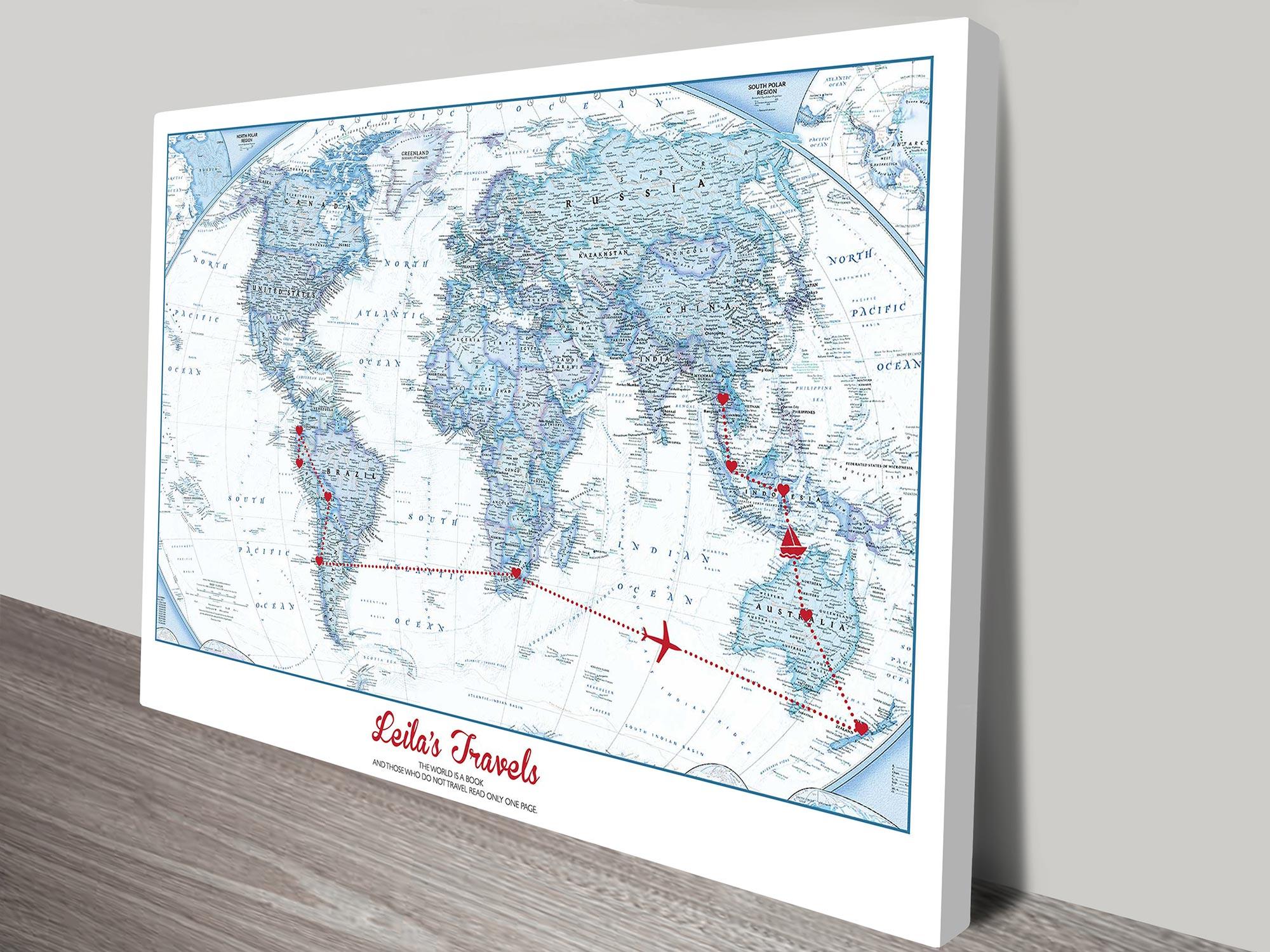 personalised map art | Push Pin Map – Big Blue