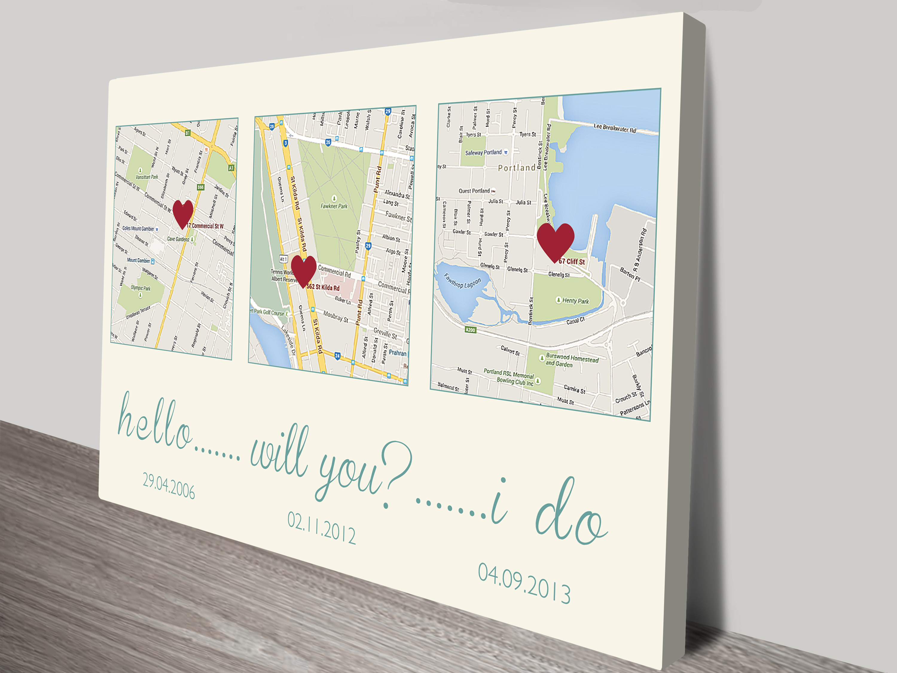 Personalised Word & Map Art | The Love Story