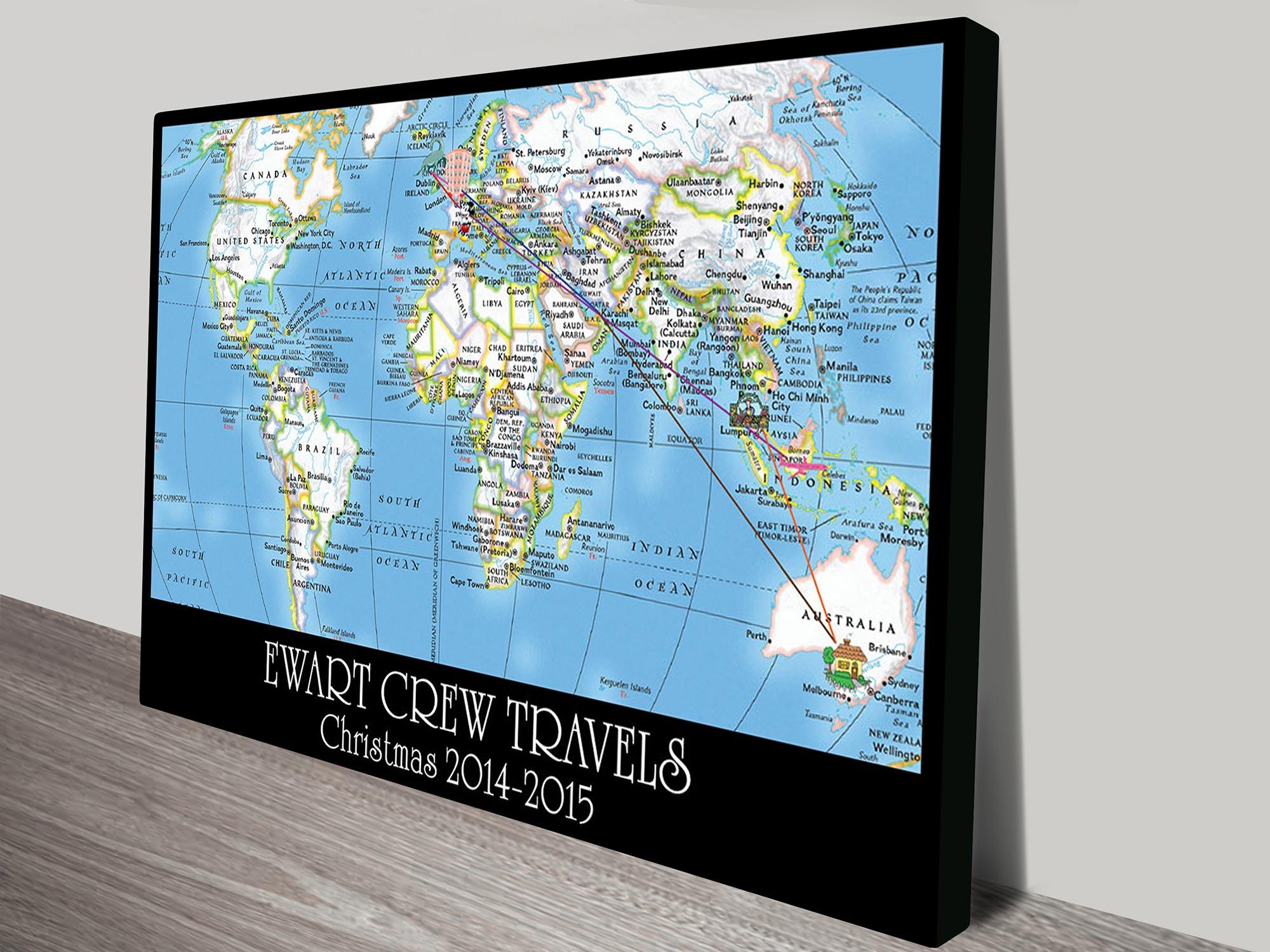 Personalised push pin travel map art | *Push Pin World Map – Wayfarer