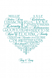 Bespoke Word Heart Artwork