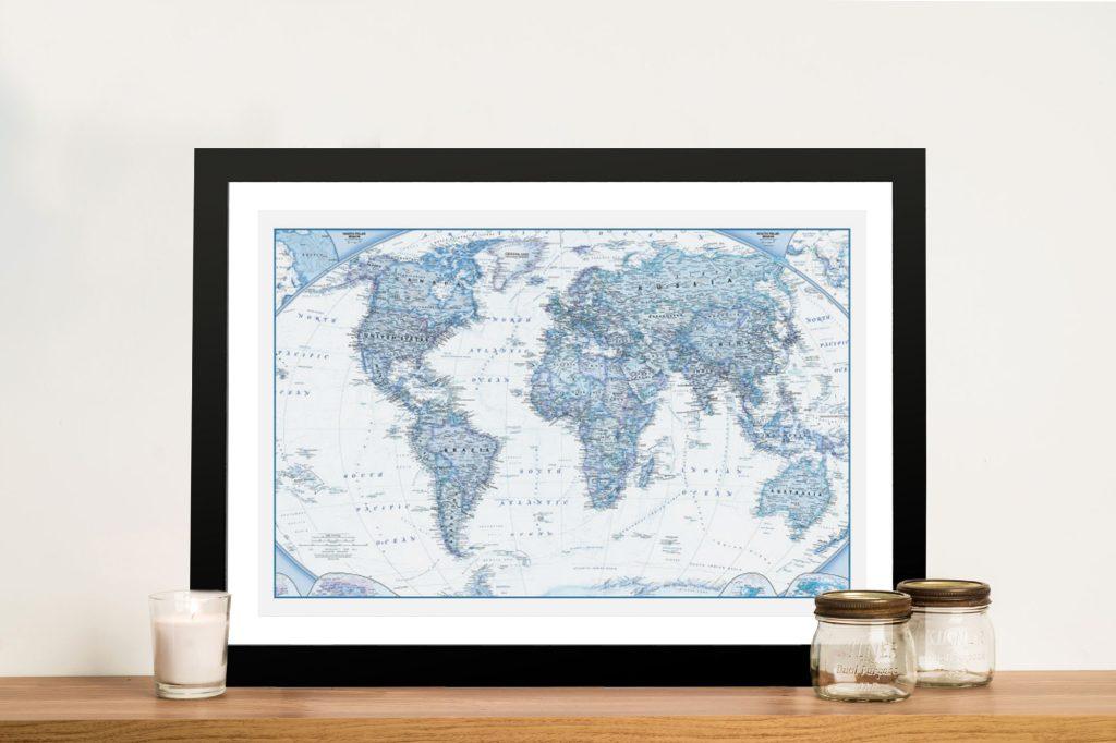 Blue World Travel Push Pin Map Wall Art