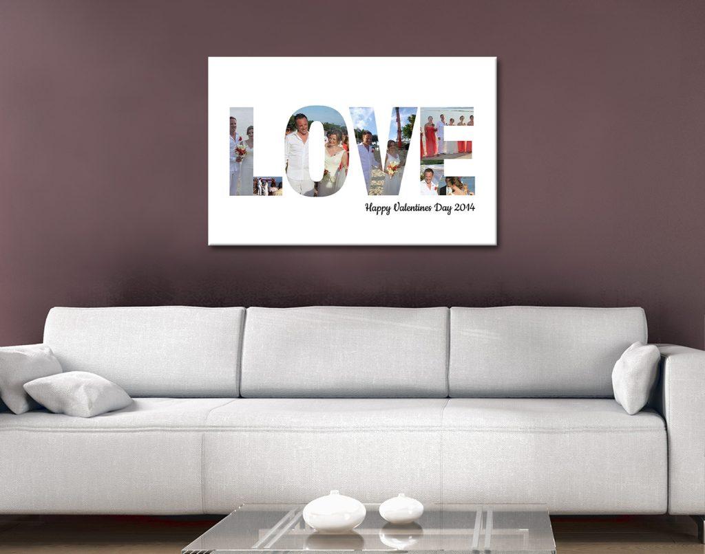 love photo word art canvas