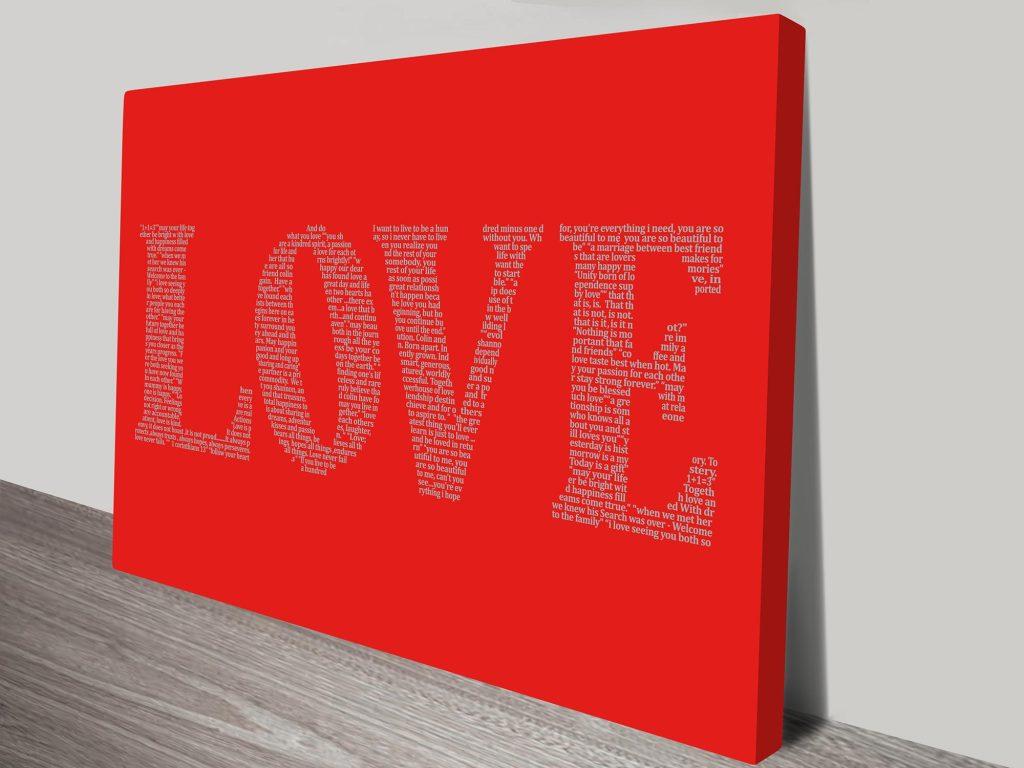 love word art canvas