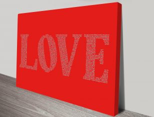love word art canvas