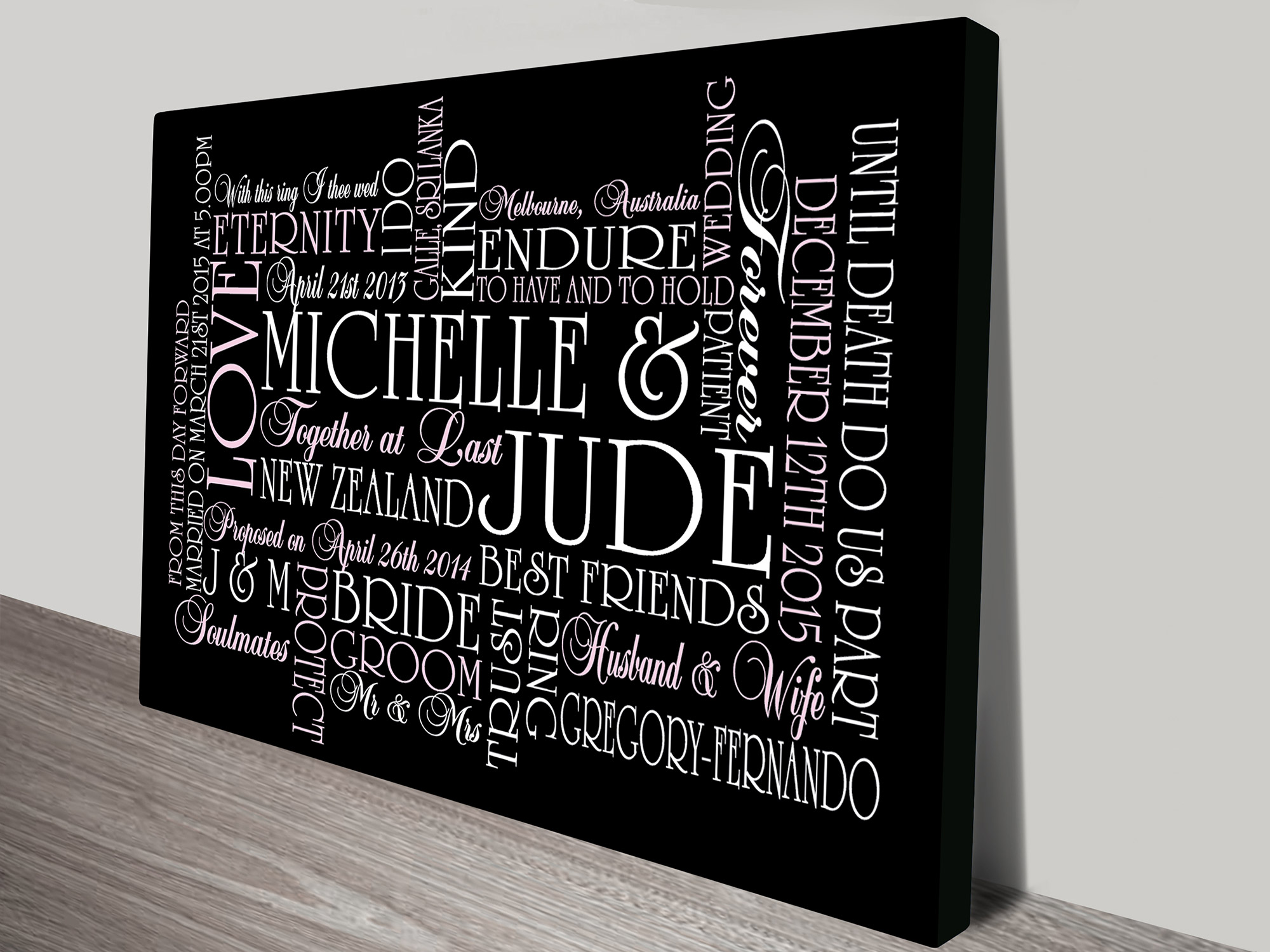Personalised canvas word art and wedding wall art gift ideas wedding gifts art wedding gifts art personalised baby gifts negle Images