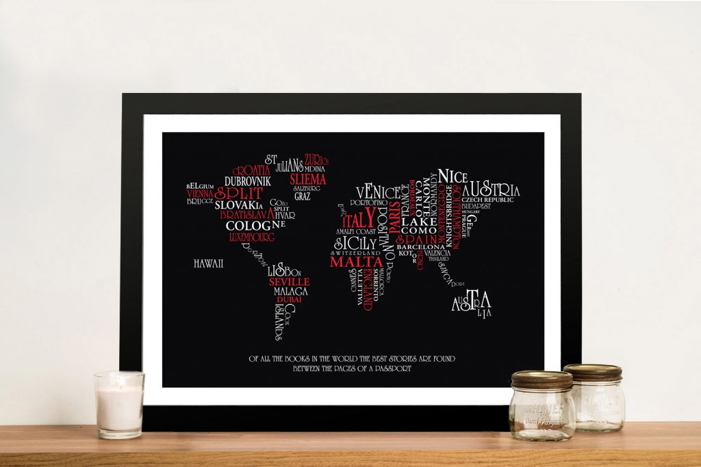 Typographic Word Map Art Custom Gifts Australia