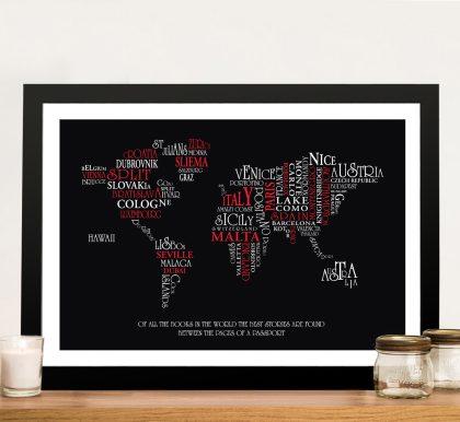 Typographic Word Map Art Custom Gifts Australia | Typographic Word Map Art