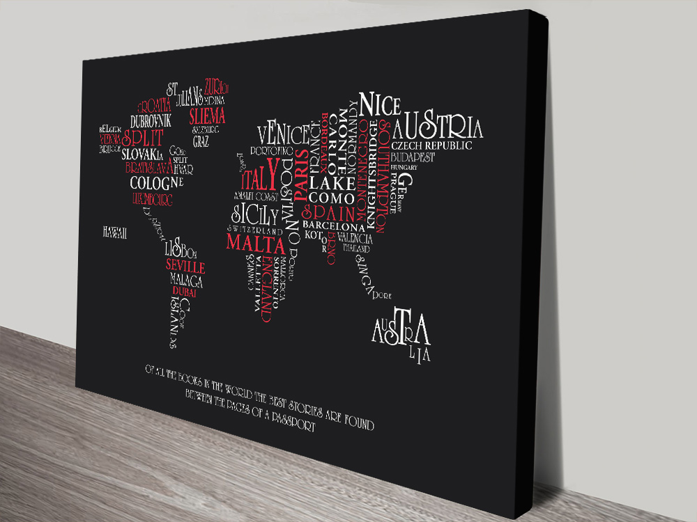 Typographic Word Map Canvas Wall Art