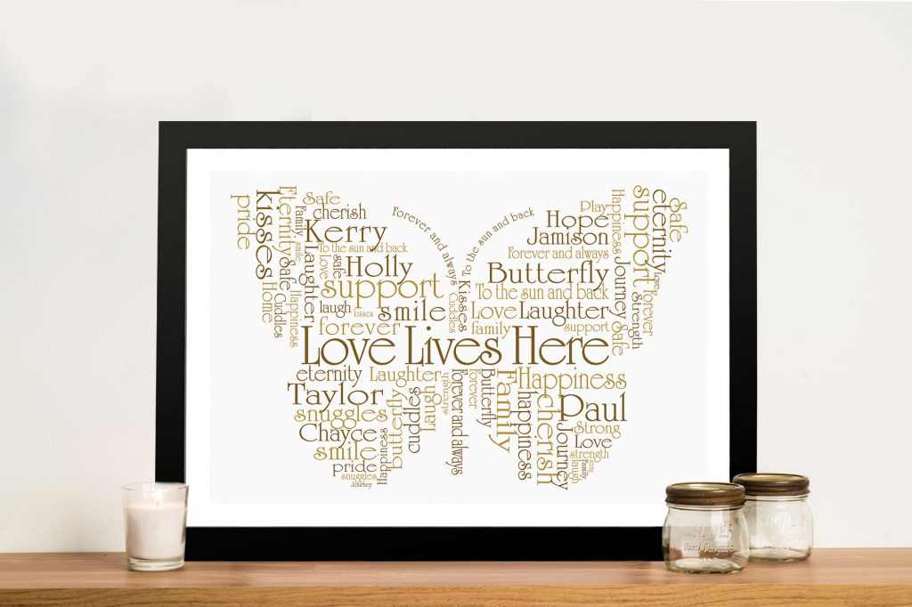 Butterfly Shaped Personalised Word Art