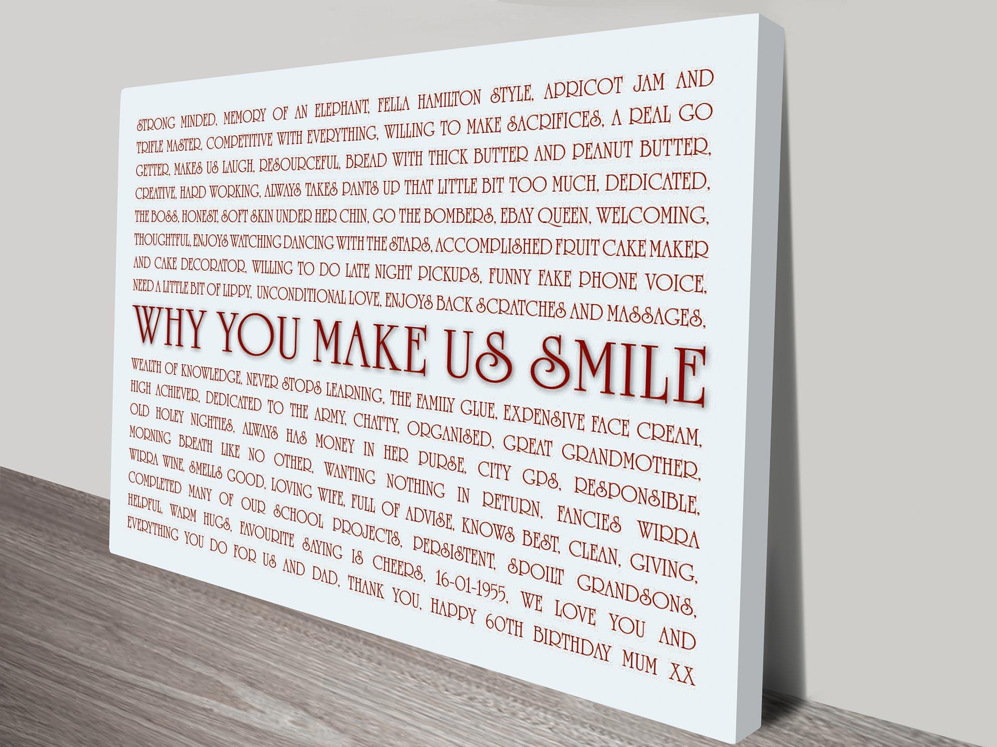 Smiles Custom Word Art | Bespoke Smiles