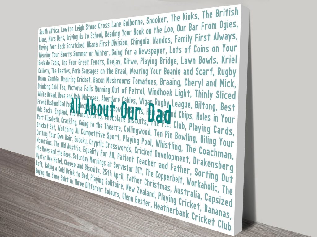 dads favourite things word art