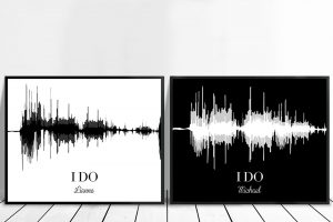 His and Hers Sound Wave Wedding Personalised Gift Art