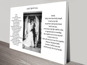 Wedding Photo Personalised Artwork on Canvas
