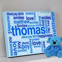 Baby Boy Blue Bespoke Personalised Artwork