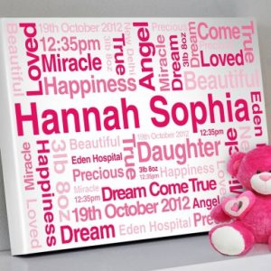 Baby Girl Bespoke Personalised Artwork Gift Idea