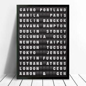 Flight Destination Board Personalised Artwork