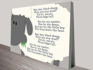 Nursery Rhymes Baby Gift Idea Word Art on Canvas