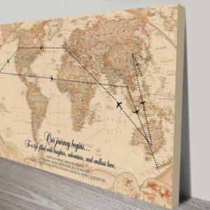 Vintage Travel Map Personalised Artwork