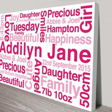 personlised baby gifts | Baby Girl Bespoke Art