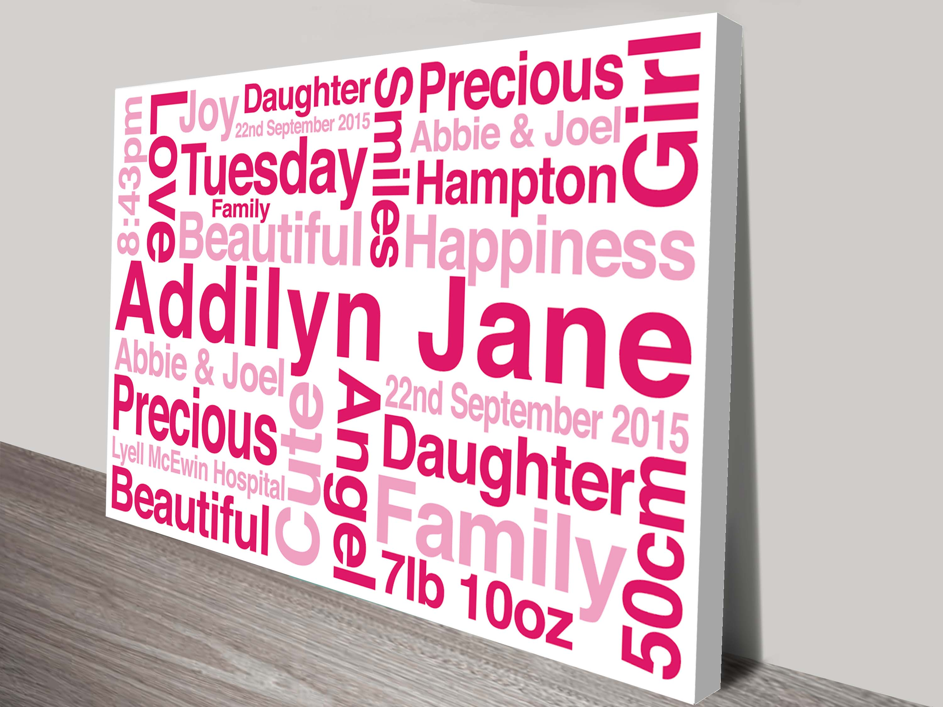 Personalised canvas word art and wedding wall art gift ideas personalised baby gifts negle Images