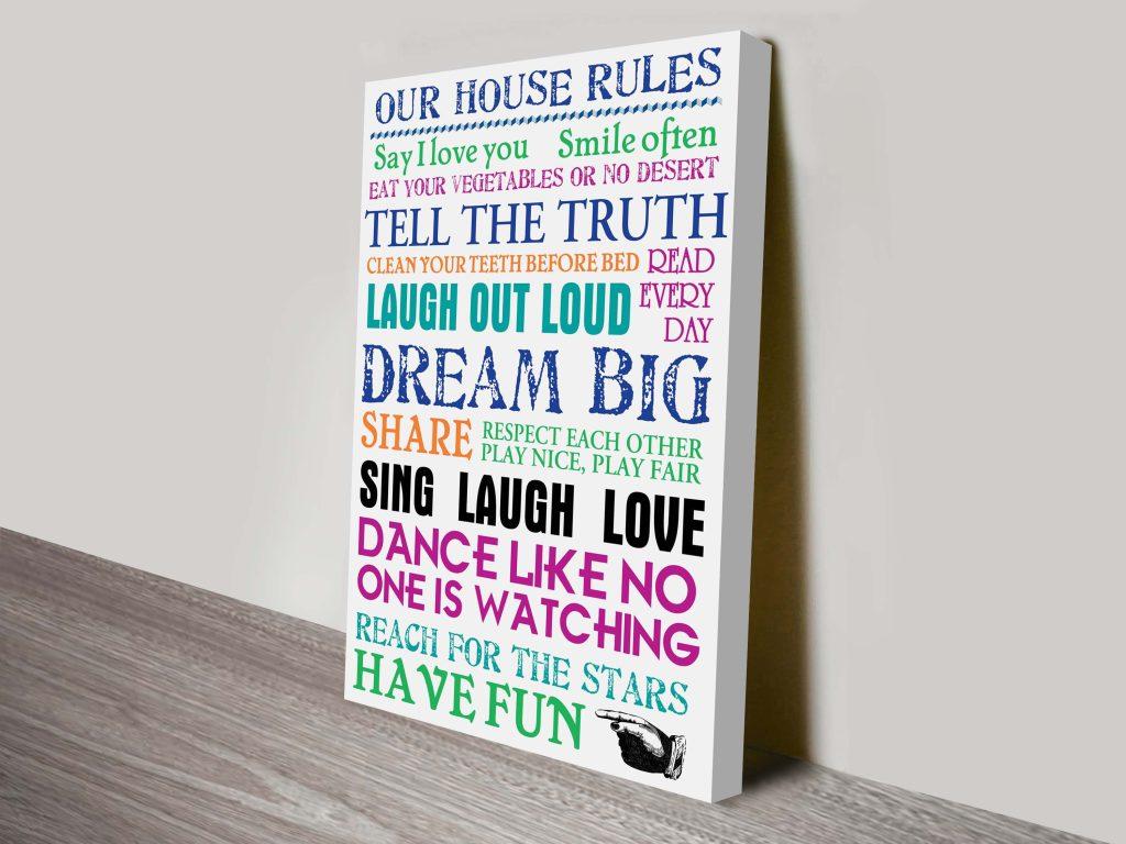 House Rules Canvas Wall Art Australia