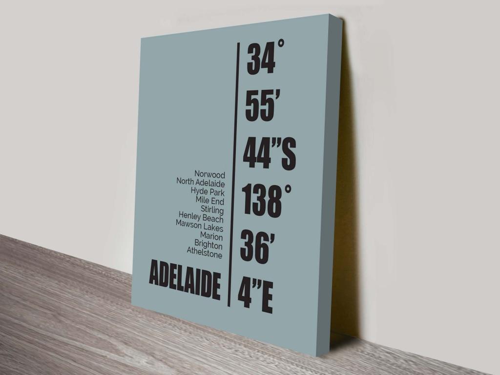 Adelaide Coordinates Canvas Wall Art