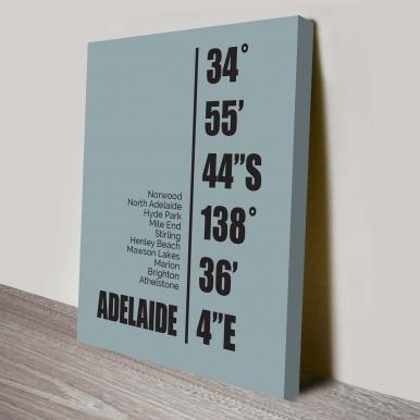 Adelaide Coordinates Canvas Wall Art | Adelaide Coordinates Art