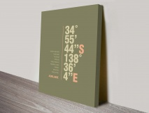 Adelaide green coordinates typography canvas print