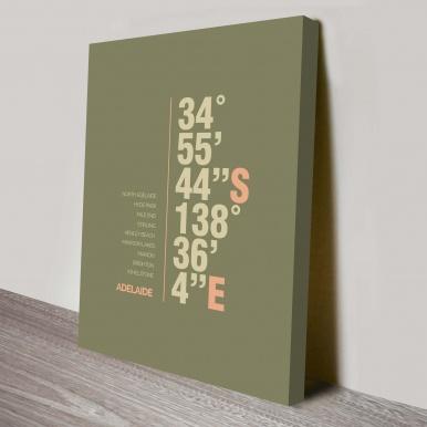 Adelaide green coordinates typography canvas print | Adelaide Green Coordinates Art