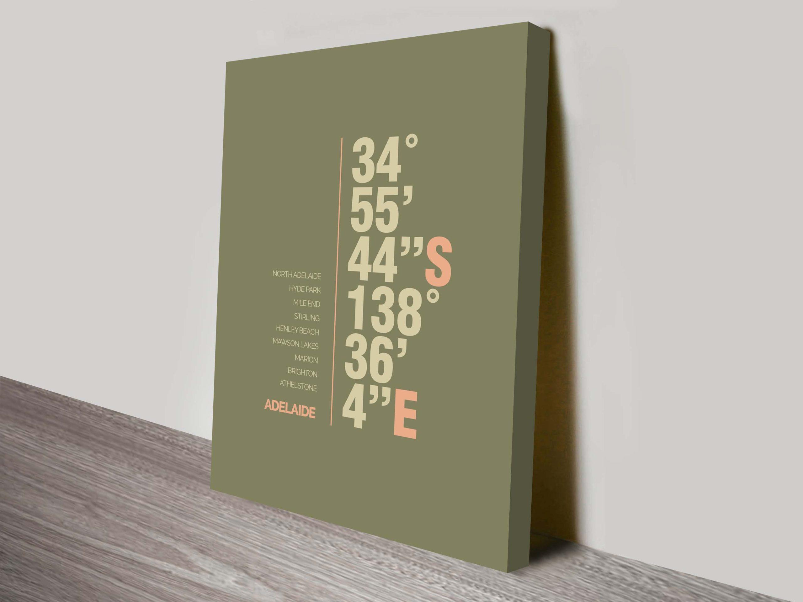 Adelaide green coordinates typography canvas print   Adelaide Green Coordinates Art
