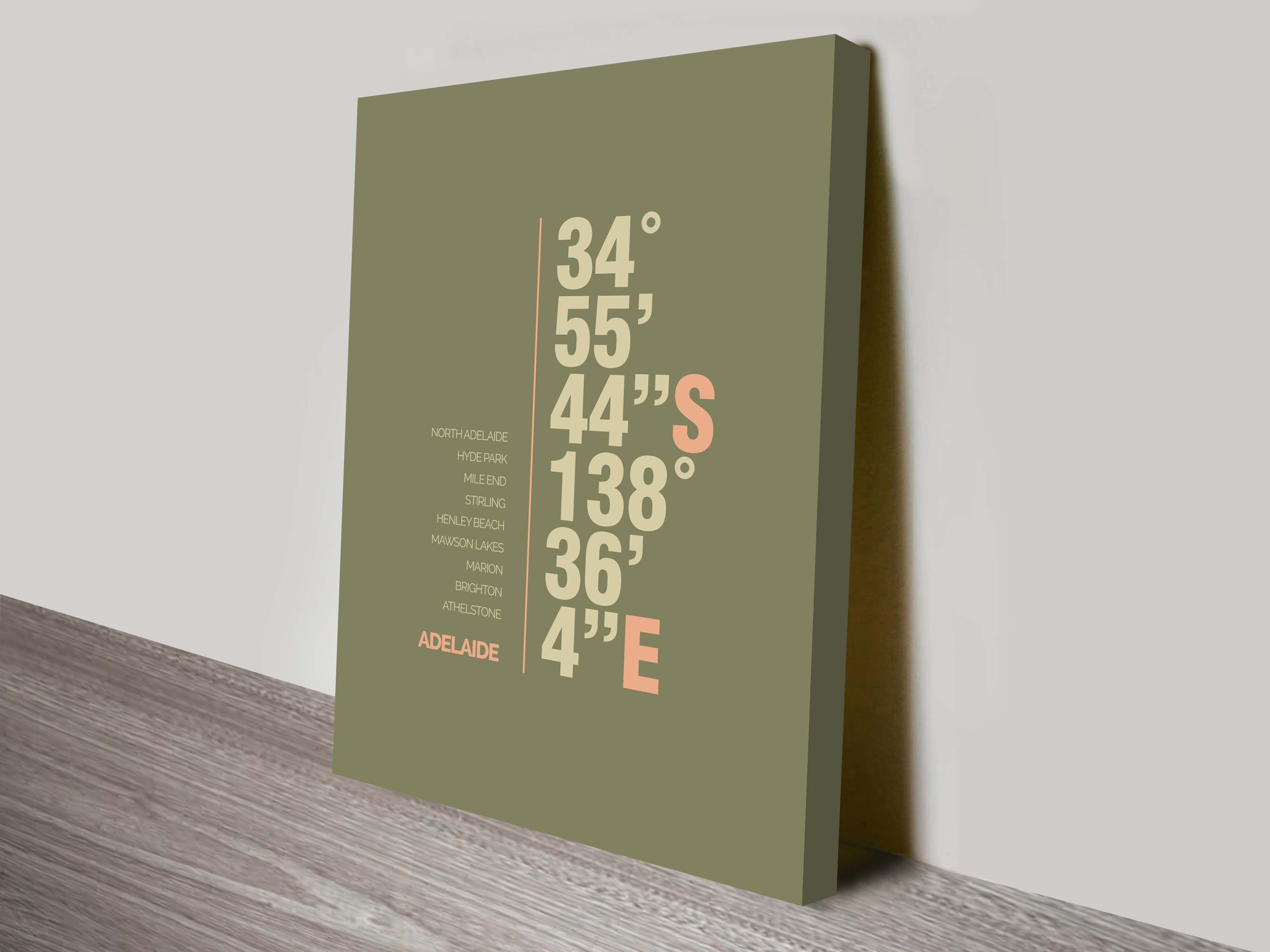 Adelaide green coordinates typography canvas print | Adelaide Green Coordinates Art