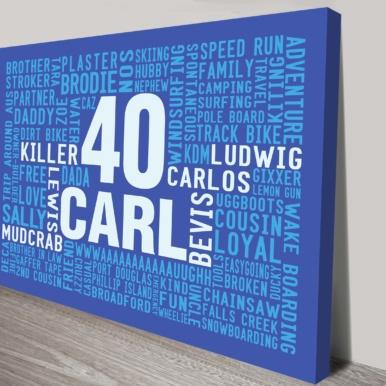 Mens Birthday Present Word Art Custom Canvas Print | Bold in Blue