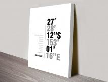 Brisbane coordinates typography canvas print
