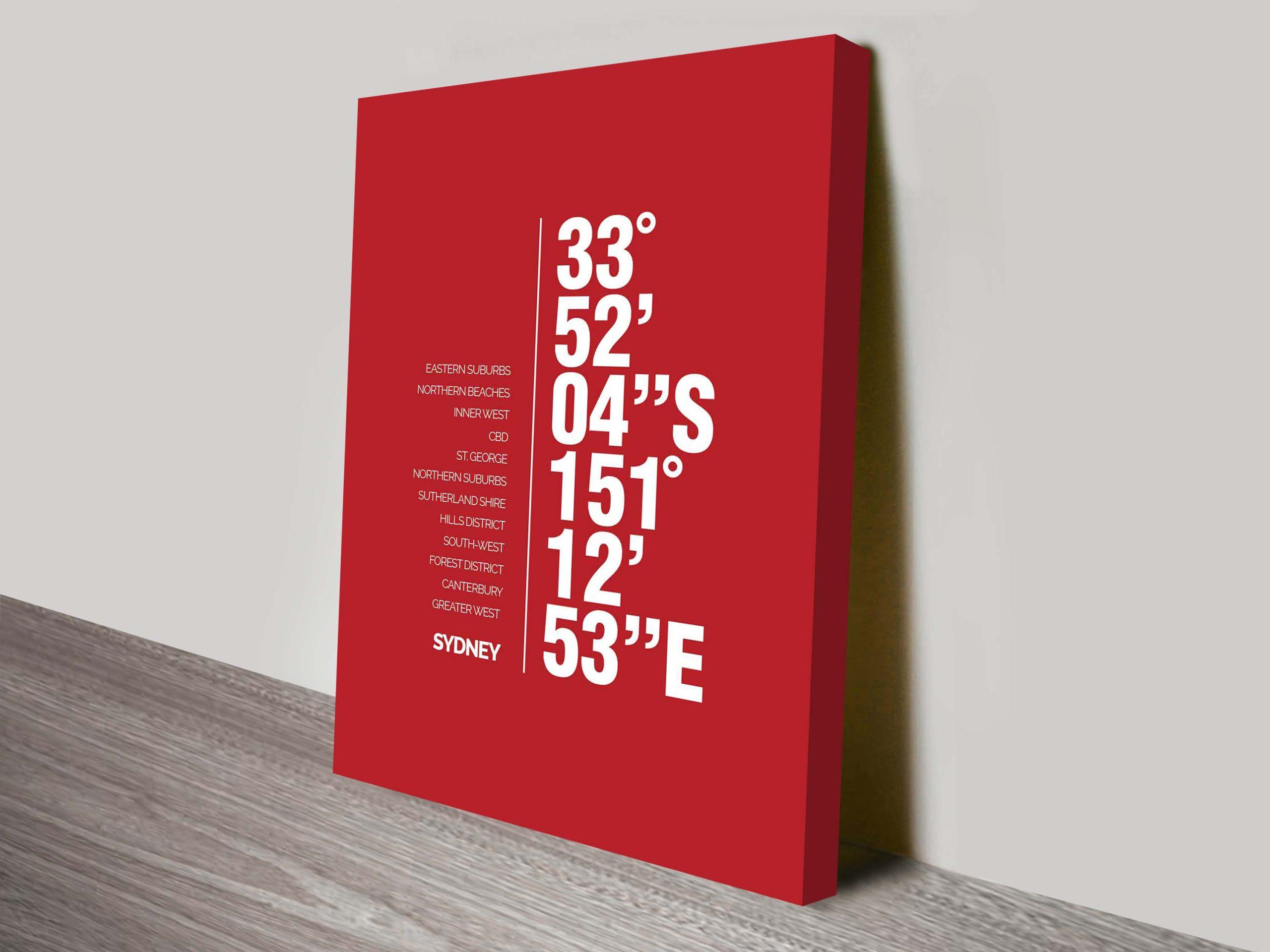 Coordinates Canvas Wall Art | Sydney Coordinates Red