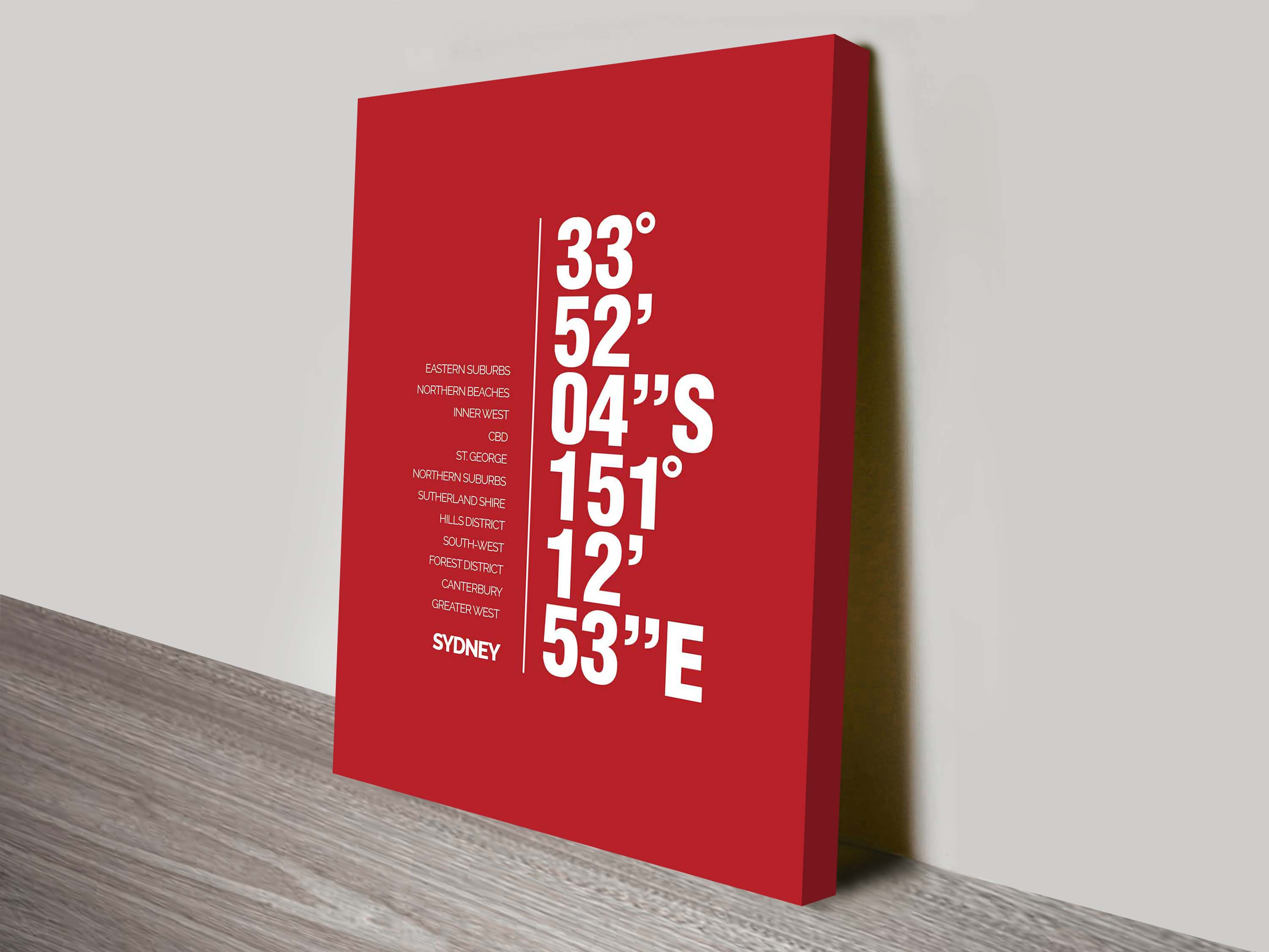 Coordinates Canvas Wall Art | Sydney Coordinates Red