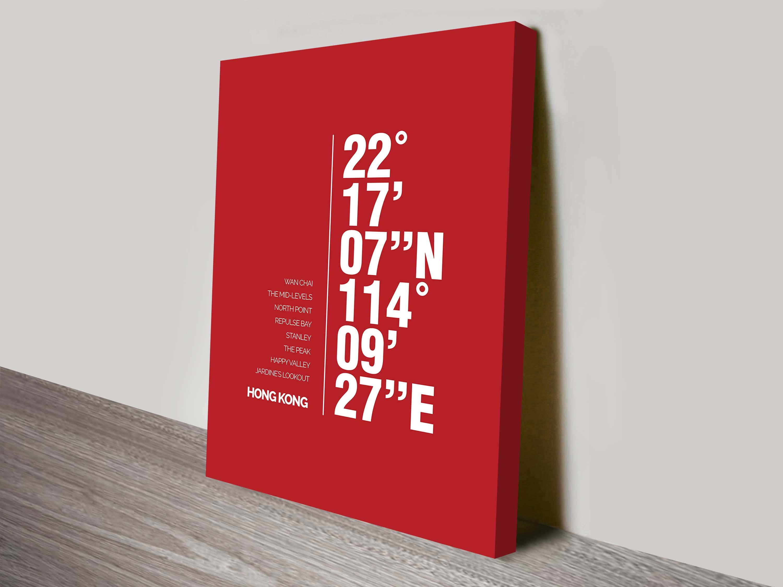 Hong Kong coordinates Wall art | Hong Kong Red Coordinates Art