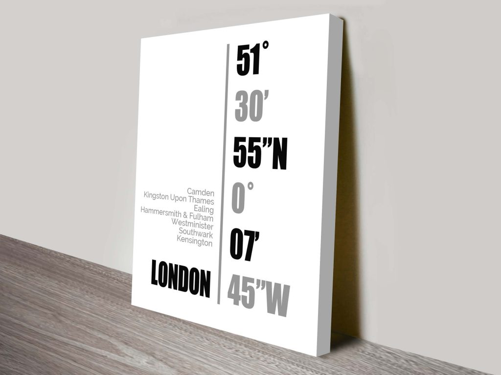 London Coordinates Wall Canvas Online