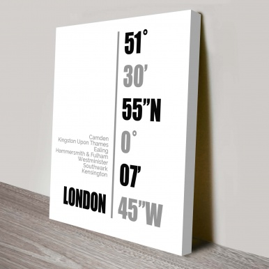 London Coordinates Wall Canvas Online | London Coordinates White
