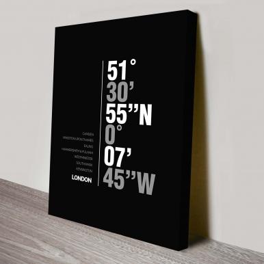 London coordinates canvas print | London Coordinates Black