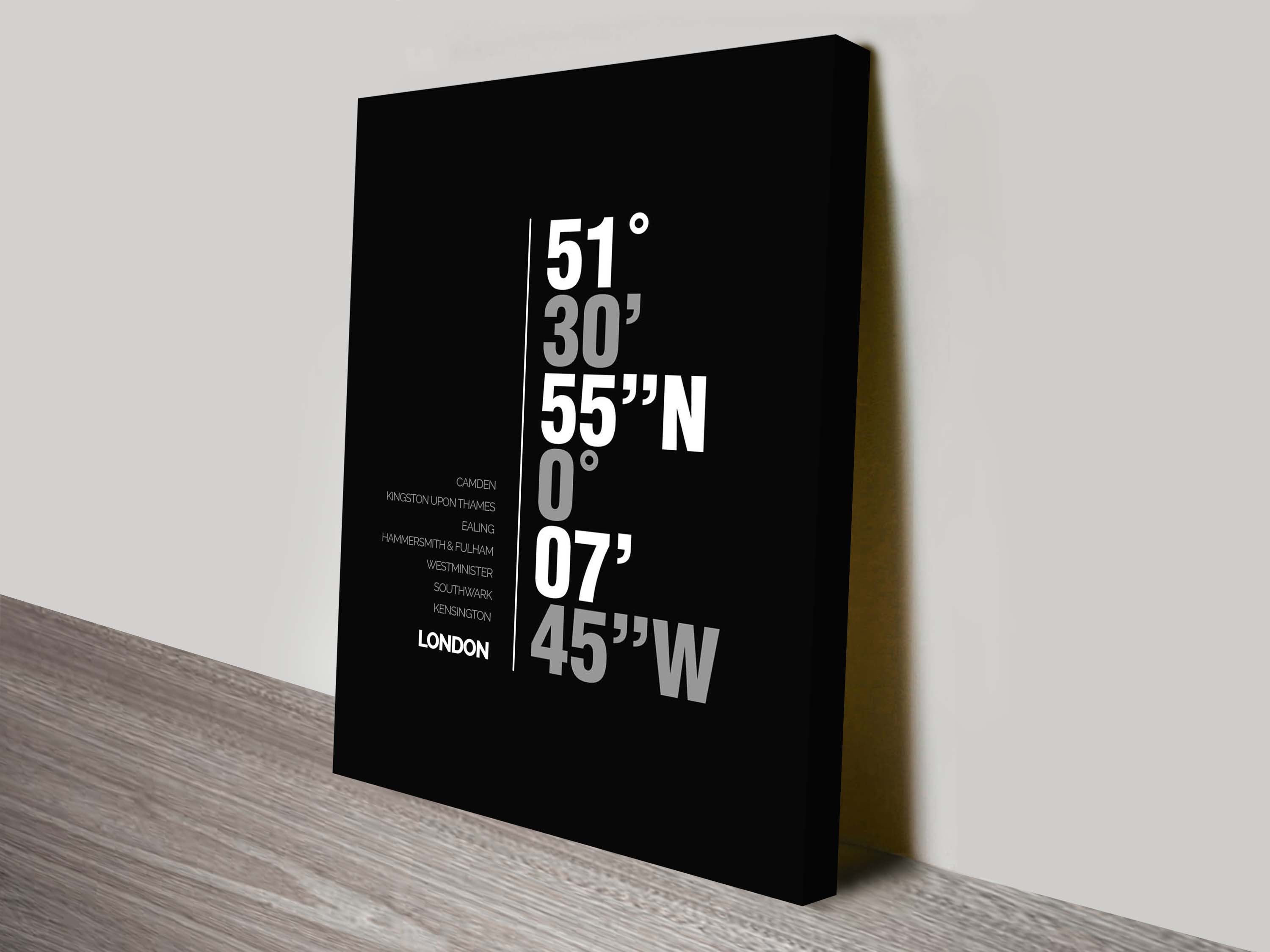 London coordinates canvas print | London Coordinates Black