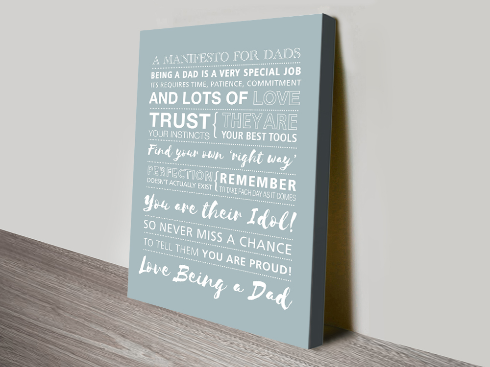 Fathers Day canvas print | Manifesto for Dads