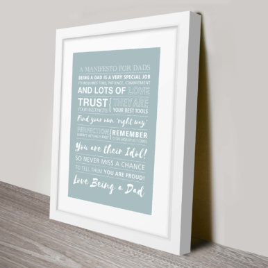 Fathers day framed personalised art | Manifesto for Dads