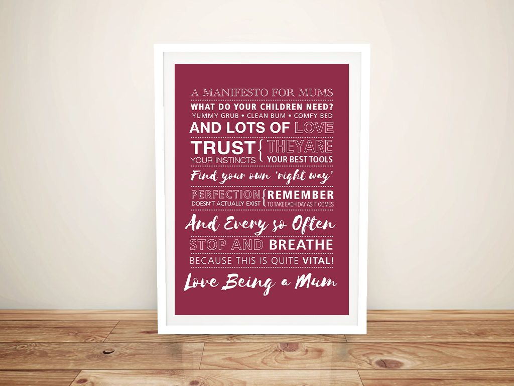 Mothers day framed personalised art