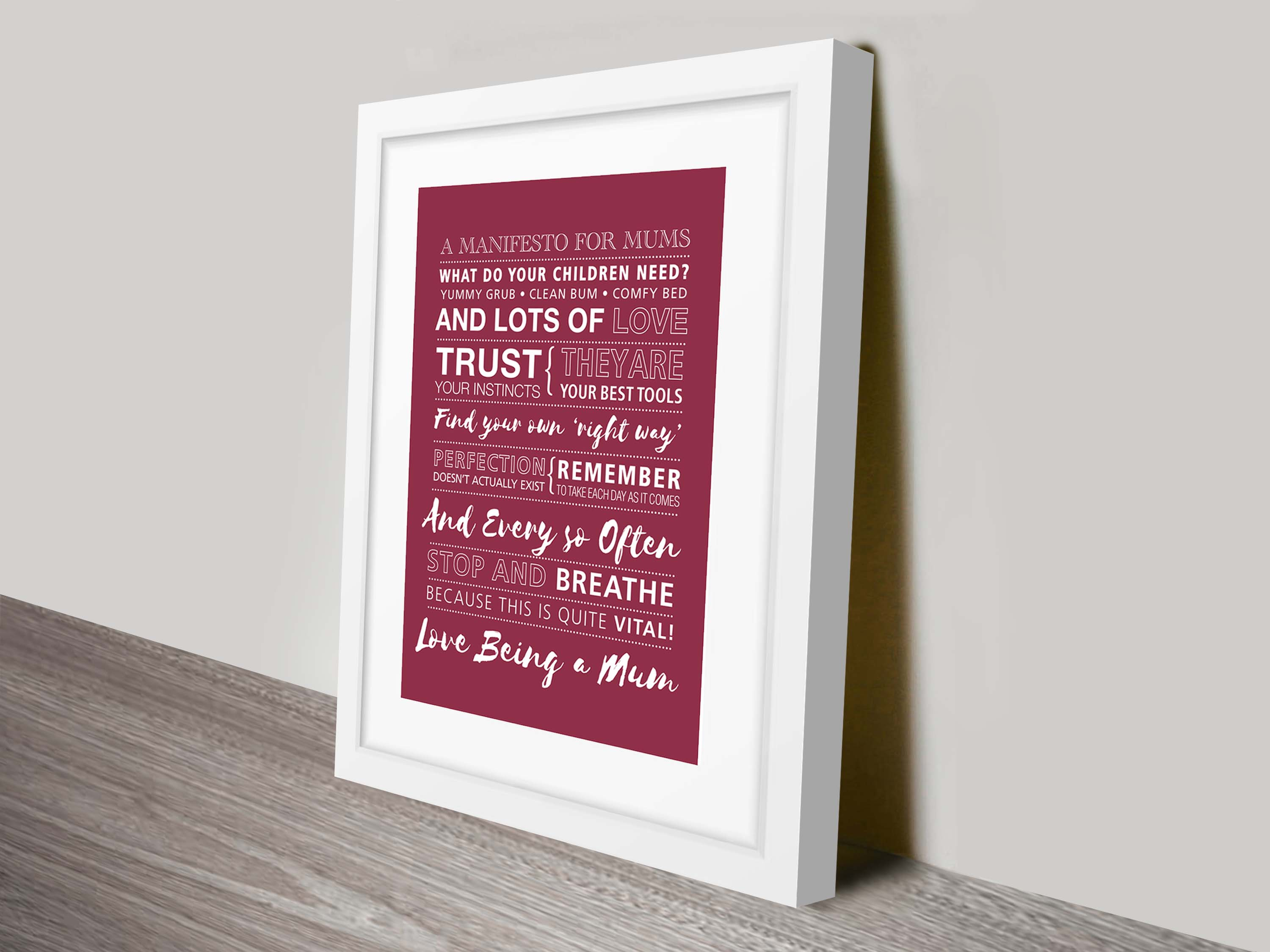 Mothers day framed personalised art | Manifesto for Mums