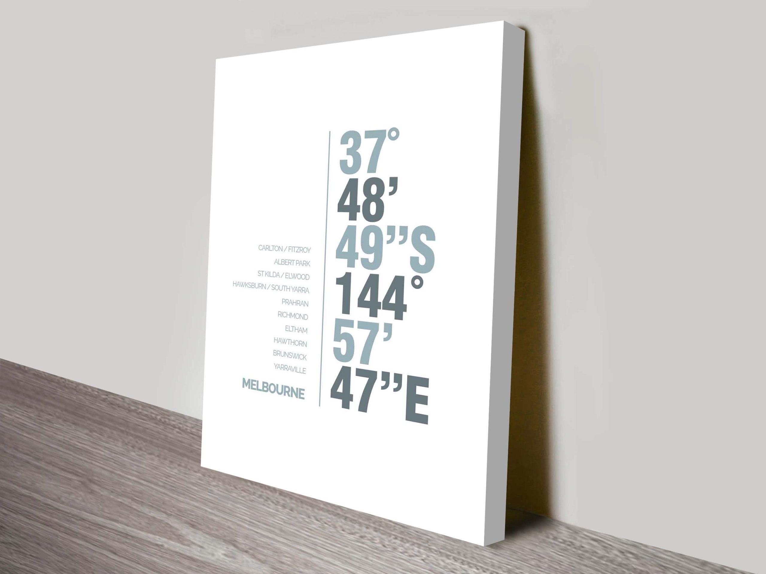 Melbourne Coordinates Typography Canvas Print | Melbourne Coordinates Art